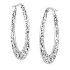 STEEL BY DESIGN CLEAR CRYSTAL AND CABLE INSIDE/OUT ELONGATED HOOP EARRINGS QVC