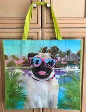 TJ Maxx Poolside Pug Tropical Sun Reusable Shopping Bag Tote Eco-Friendly Green