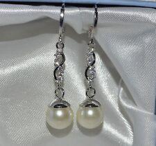 18k/18ct White Gold Filled Pearl & White Topaz Drop/ Dangle Hoop Earrings