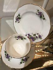 Vintage Duchess Violets Purple Bone China Tea Cup, Saucer, Sideplate Trio x1 Set