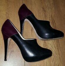 Beatrix Ong Púrpura + Botas De Cuero Negro Zapatos UK 7