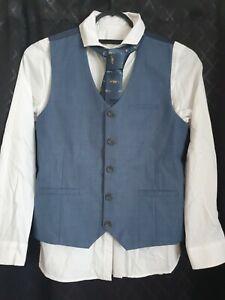 NEXT, Boys Shirt Waistcoat & Car Theme Tie Navy And Light Blue. Age 10 Years