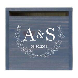 Custom Wedding Wishing Well Card Box For Money Gift Holder - A & S (Leaves)