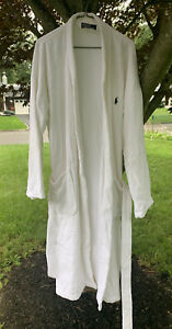 Polo Ralph Lauren Mens Robe Terry White Blue Pony Flawless