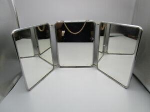 Grand miroir triptyque de barbier vintage