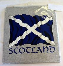 SCOTTISH FLAG/SALTIRE design  Grey TEE SHIRT, Large adult,  Wales/ Cymru