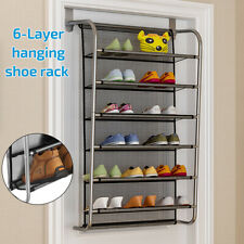 6 Tier Over The Door Hanging Shoe Rack Organiser Stand Shelf Shoe Holder