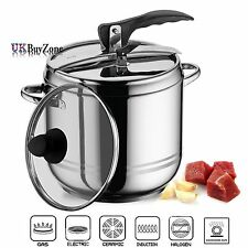 2 in 1 Stainless Steel Stovetop Pressure Cooker Stockpot With Glass Lid 5 Litre