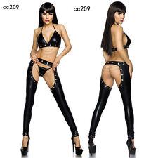 Sexy Lingerie PVC Spandex Black Faux Leather Gothic Fetish Jumpsuit Catsuit 209
