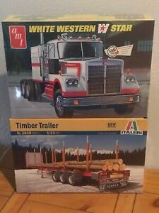 AMT 1/25 White Western Star Tractor and Italeri 1/24 Timber Trailer