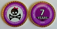 """Alcoholics Anonymous 7 Year Skull and Bow Rope Edge Sobriety Coin Chip 1 3/4"""""""