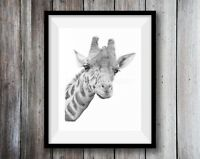 GIRAFFE ART PRINT Pencil Drawing Wildlife Animal Sketch A4 Wall Illustration