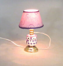 Dollhouse Miniature Owl Ceramic Table Lamp Lighted Light by miniholiday Purple