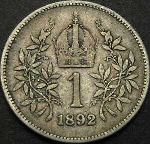 AUSTRIA 1 Corona 1892 - Silver - Franz Joseph I - F/VF - 2195 ¤
