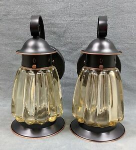 Pair of Antique Copper/Red Brass Porch Light Sconces, Restored & Rewired