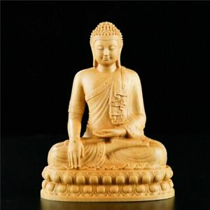 Religious Temple Thai Buddha 10 Cm Statue Wooden Chinese Box Wood For Home Decor