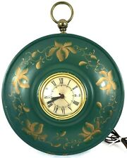 Vintage Sessions Electric Tole Painted Wall Clock Green Gold Floral 11""