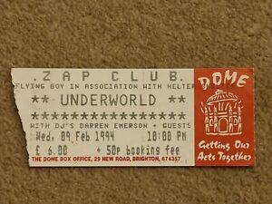 Underworld Used Rave Flyers Tickets Zap Club Brighton 09.02.1994 Darren Emerson