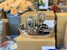 pottery barn Tugboat bar tool set & shaker & coasters aluminum wood stainless