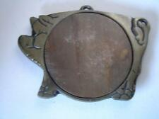 Cast Wrought Iron Pig Trivet Folk ART Primitive with wood insert 9.5""