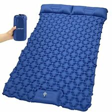 New listing Double Inflatable Camping Sleeping Pad with 2 Pillows, Full Navy Blue