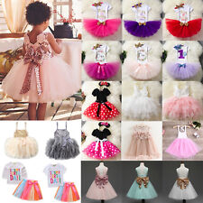 Baby Girls Kids Birthday Tutu Tulle Dress Party Pageant Princess Skirt Outfit UK
