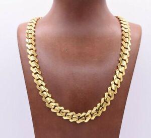 12mm Edge Miami Cuban Link Monaco Chain Necklace CZ Lock Real 14K Yellow Gold