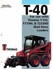 "THOMAS T-40 SKID STEER COLD PLANER BROCHURE ""NEW"""