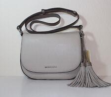 NWT Authentic MICHAEL Michael Kors Elyse Large Leather Saddle Bag CEMENT $298