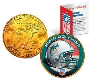 MIAMI DOLPHINS NFL LICENSED 24K Gold Plated IKE Eisenhower Dollar U.S. Coin
