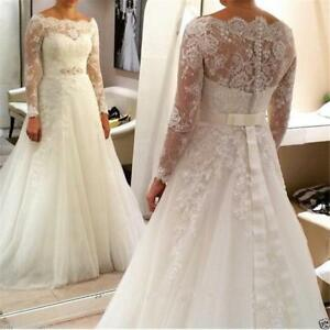 Plus Size New Lace A-line Long Sleeves Wedding Dress Bridal Ball Gown Custom