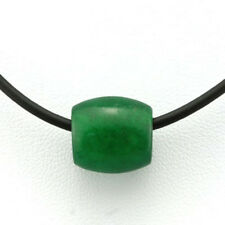 "ANTIQUE BLESSING & PROTECTION JADE NECKLACE BLACK RUBBER & BASE METAL 15""-17"""