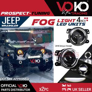 NEW UK 2PCS 40W 4'' LED Fog Light Lamps White DRL 6000K Jeep Wrangler JK VKOV1