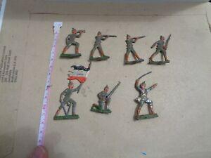Flats ww1 German infantry flag bearer & troops, lot of 7 lead 45mm soldiers, JJ