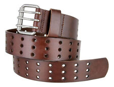 """THREE HOLE GENUINE LEATHER 1 3/4 """" WIDE CASUAL JEAN BELT with ROLLER BUCKLE NWT"""