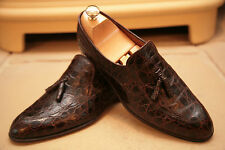 Vintage Bally Mens Made In Switzerland Brown Caymen/Crocodile Loafers Size UK8.5