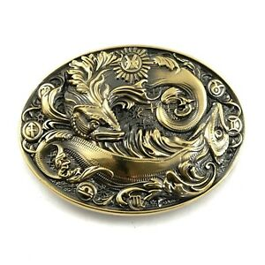 Pisces belt buckle, Horoscope Astrological Zodiac Sign solid brass belt buckle