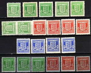 WW2 GERMAN OCCUPATION ISSUES: GUERNSEY 1941-4 SHADES HINGED MINT SELECTION (21)