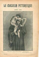 Femme Fellah Egypte Tableau de Bonnat Musée de New-York GRAVURE OLD PRINT 1908