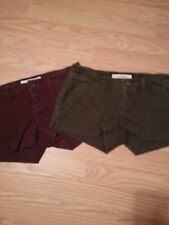 NWT Abercrombie Kids 2 Pairs Casual Twill Shorts Girl's Size 12 Burgundy & Green