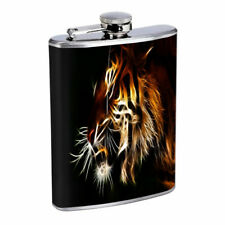 Abstract Neon Tiger E1 Flask 8oz Stainless Steel Hip Drinking Whiskey