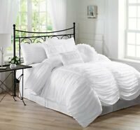 Chezmoi Collection 7pc Shabby Chic Ruffled Duvet Cover Set W/Throw Pillows White