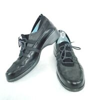 Thierry Rabotin Womens EU Size 39.5 Black Suede Leather Lace Up Sneakers