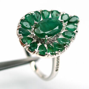 NATURAL GREEN UNHEATED EMERALD  & WHITE CZ 925 STERLING SILVER RING