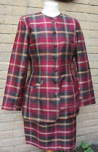 Monsoon Twilight-Tartan 100% Silk Ladies Skirt & Jacket-Size 14 Jacket/16 Skirt