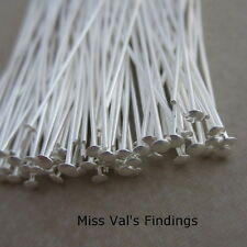 100 silver plated brass jewelry headpins 2 inch 21 gauge