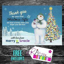 Cadeau de noël merci cartes bonhomme de neige - 5 x personnalisé imprime avec enveloppes