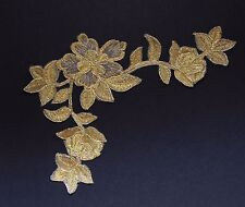 Extra large flower patches applique patch motif iron/ sew on trim Gold   #3