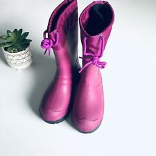 Rubber Lined Winter Snow Boots Pink Girls Sz 1