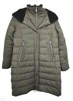 Vince Camuto Womens Gray Snap Zip Long Sleeve Hooded Winter Jacket Coat M